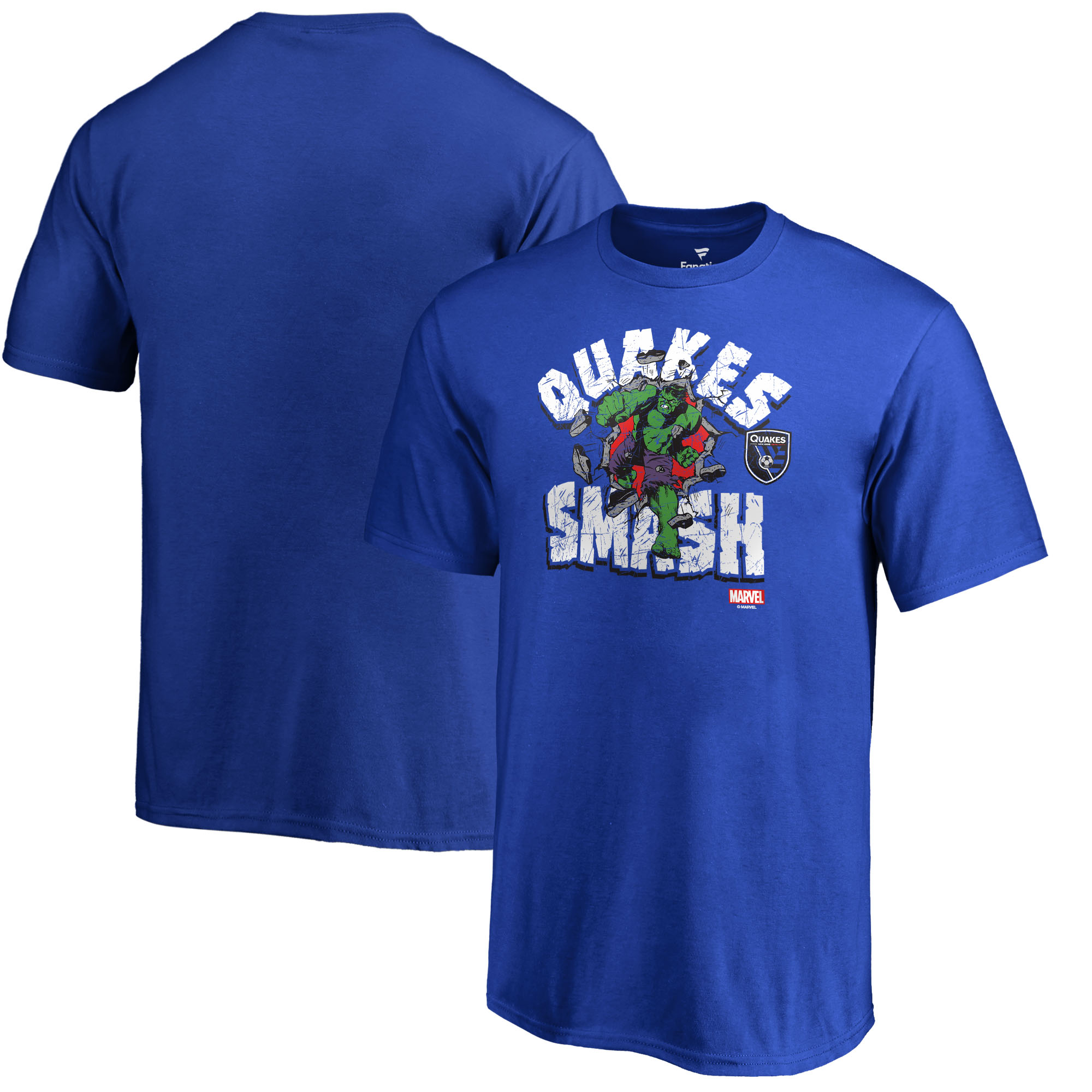 San Jose Earthquakes Fanatics Branded Youth MLS Marvel Hulk Smash T-Shirt - Royal