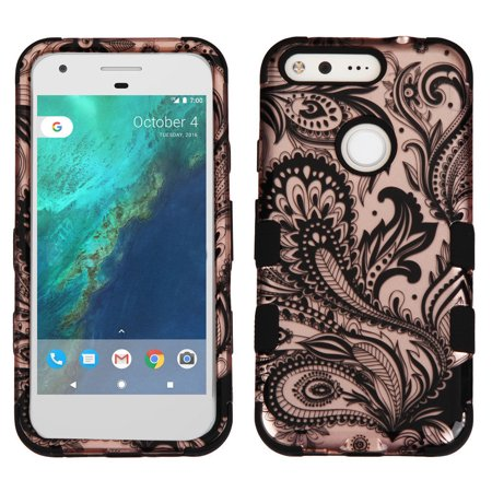 Google Pixel Xl  5 5   Case  Kaleidio  Tuff  Rugged Dual Layer Impact Protection  Shockproof  Hybrid Heavy Duty Rubber Cover  Includes A Overbrawn Prying Tool   Rose Gold Paisley Design