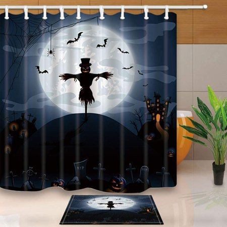 ARTJIA Scarecrow Decor Halloween Night Background with Castle and Pumpkins Shower Curtain 66x72 inches with Floor Doormat Bath Rugs 15.7x23.6 inches - 100 Floors Halloween Level 30