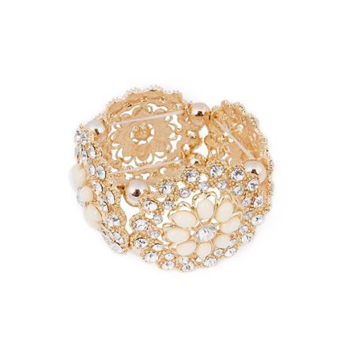 BMC 4 Gold Alloy Brooch Style Rhinestone Jeweled Stretch Fashion Bangle Bracelet