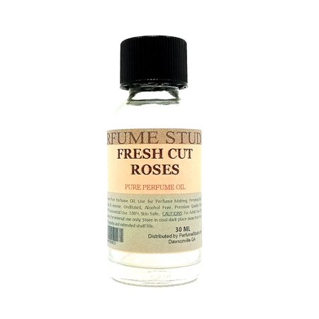 Fresh Cut Roses Perfume Oil for Perfume Making, Personal Body Oil, Soap, Candle Making & Incense; Splash-On Clear Glass Bottle, Undiluted & Alcohol Free (1oz, Fresh Cut Roses Fragrance