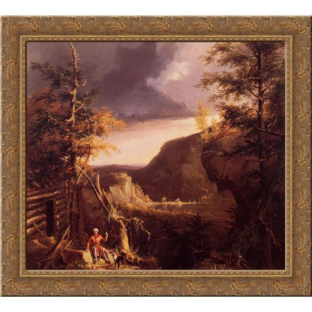 Osage Wood (Daniel Boone Sitting at the Door of His Cabin on the Great Osage Lake 24x20 Gold Ornate Wood Framed Canvas Art by Thomas Cole)