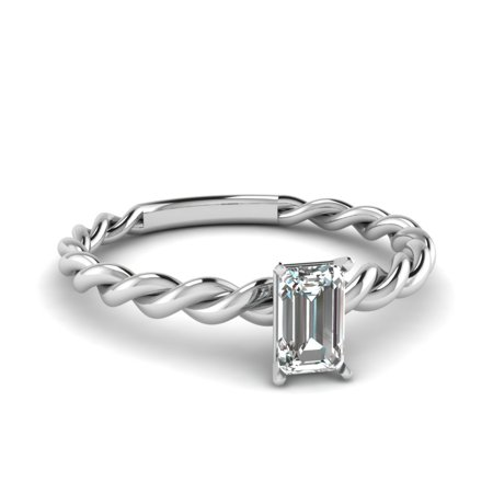 Twisted Rope Design Single Stone Engagement Ring 0.30 Carat Emerald Cut Diamond In 14K White Gold GIA Certified -Fascinating (Gia Certified Emerald Cut Diamond)