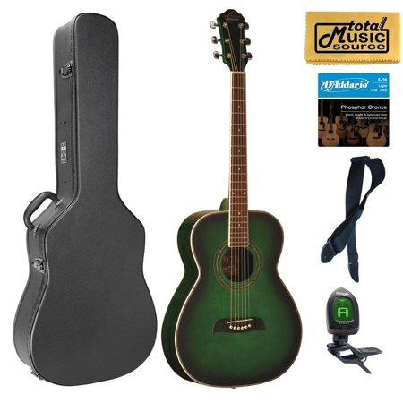 Oscar Schmidt Folk Style Acoustic Guitar, Spruce Top, Trans Green, OF2TGR Case Bundle, OF2TGR