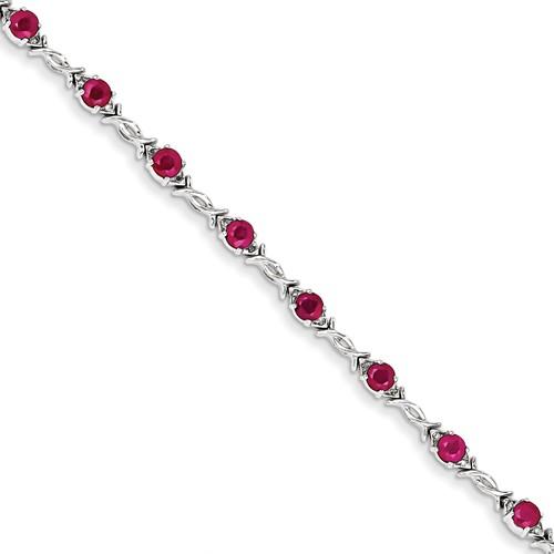 14K White Gold Diamond and Ruby Bracelet. Carat Wt- 0.1ct. Gem Wt- 3.5ct by Jewelrypot