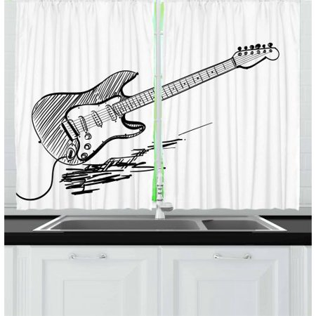Guitar Curtains 2 Panels Set, Hand Drawn Style Electric Guitar on White Backdrop Rock Music Accords Sketch Art, Window Drapes for Living Room Bedroom, 55W X 39L Inches, Black White, by Ambesonne - High Efficiency Electric Panel