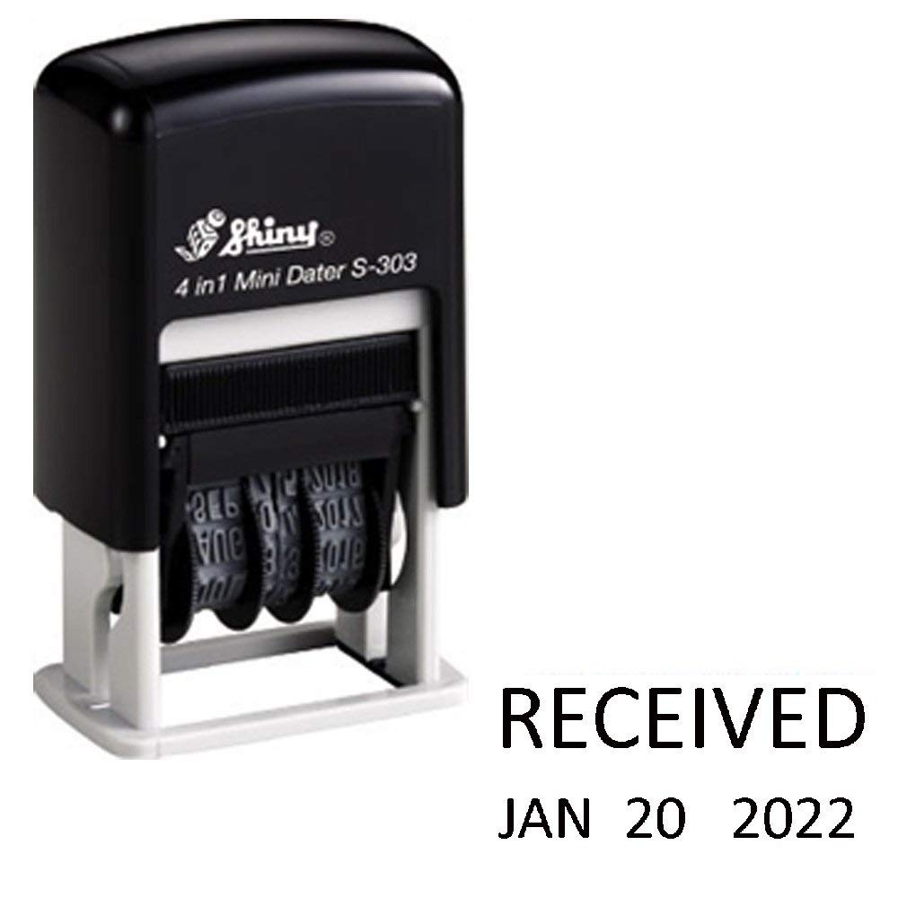Shiny Self-Inking Rubber Date Stamp - RECEIVED - S-303 - BLACK INK (42511-RECEIVED-K)