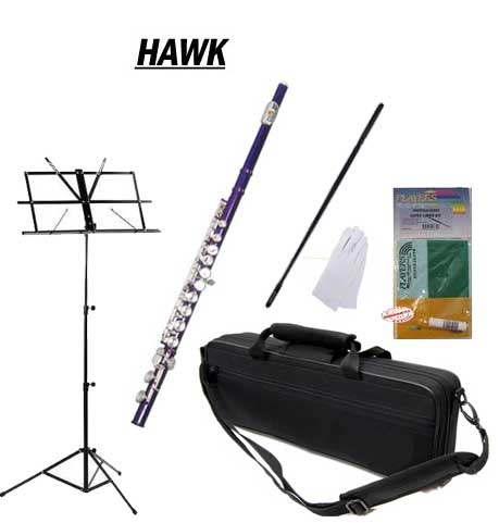 Hawk Purple Closed Hole C Flute School Package with Case, Music Stand, and Cleaning Kit