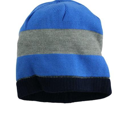 Nolan Boys Striped Beanie Hat Reversible Winter Hat Royal Blue Grey Size  4-14 60e45f81228