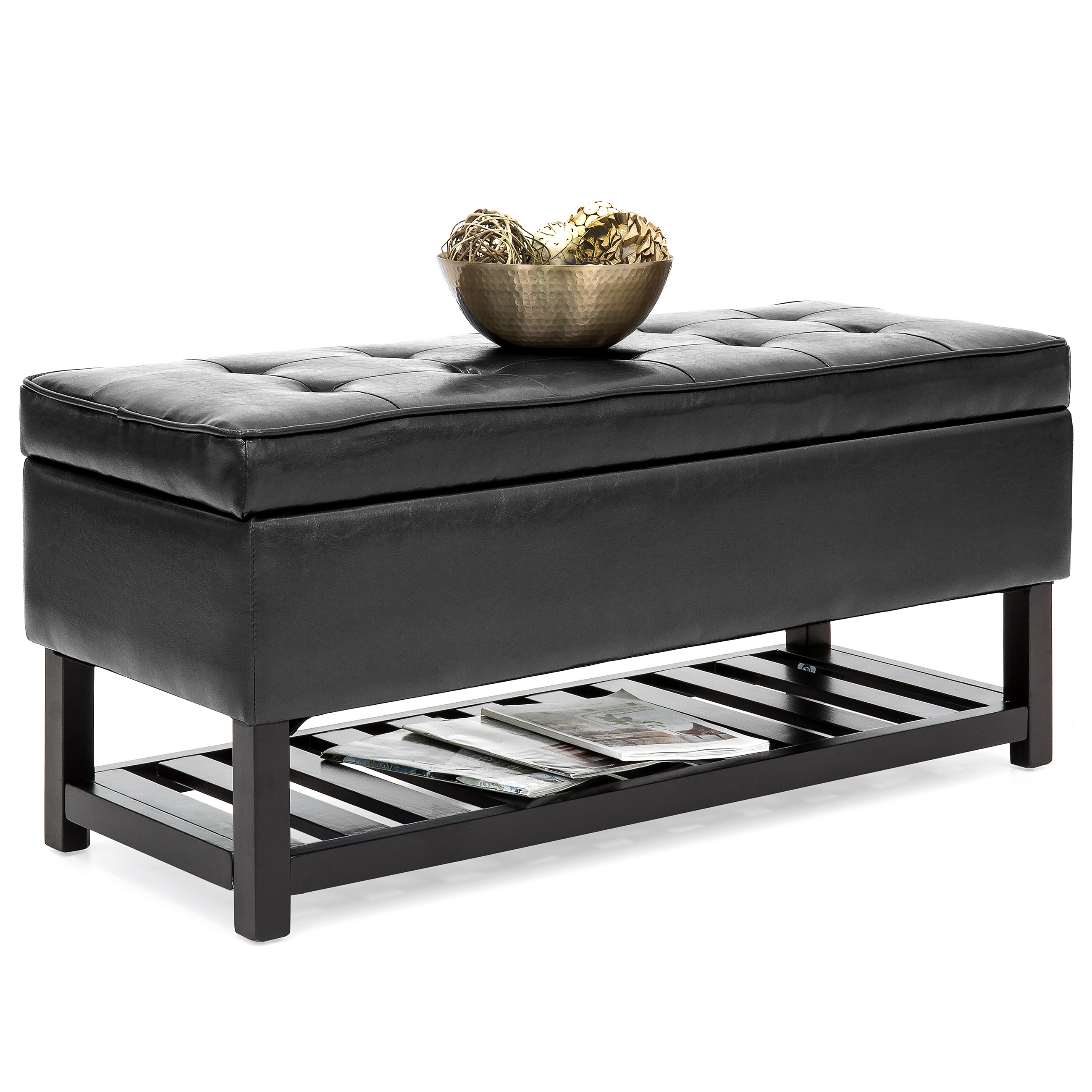 Storage Ottoman Bench with Open Bottom,  Black