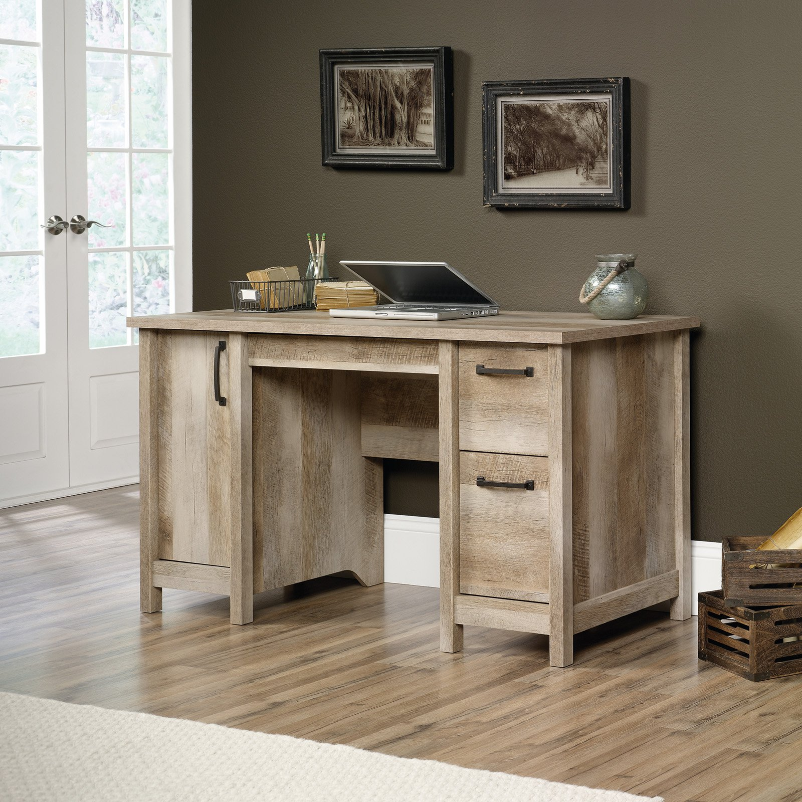 Sauder Cannery Bridge Contemporary Computer Desk, Lintel Oak Finish