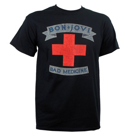 JON BON JOVI Bad Medicine Distressed Cross Logo - Jovi Elf