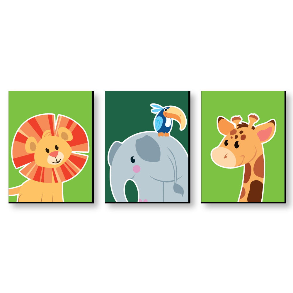 Jungle Party Animals Safari Zoo Animal Nursery Wall Art Kids Room Decor 7 5 X 10 Set Of 3 Prints Walmart Com Walmart Com