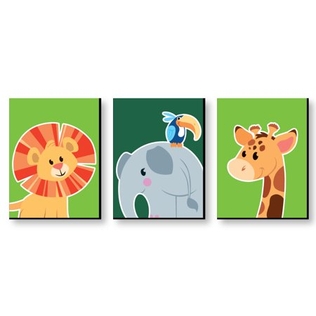 "Jungle Party Animals - Safari Zoo Animal Nursery Wall Art & Kids Room Decor - 7.5"" x 10"" - Set of 3 Prints"