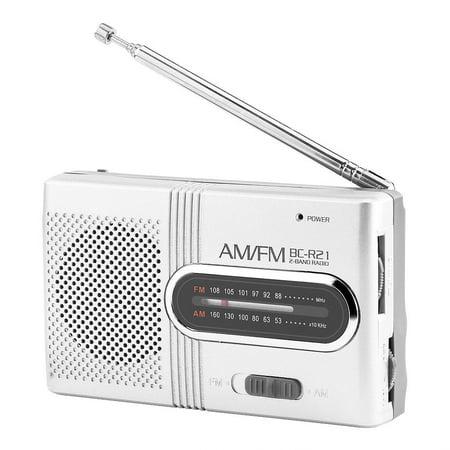 Tebru Portable Radio, FM Radio, Universal Portable AM/FM Mini Radio Stereo Speakers Receiver Music Player