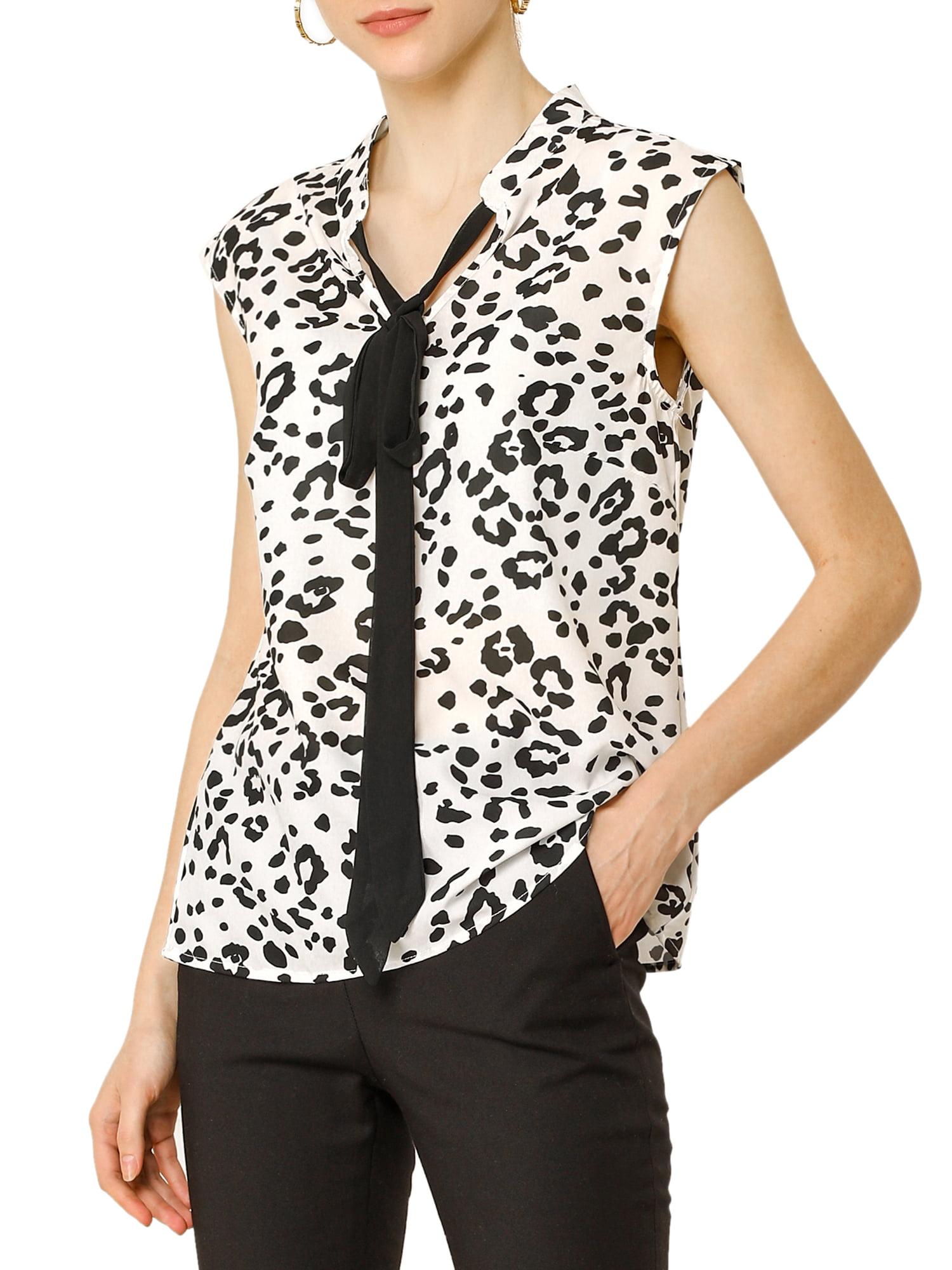 Plus Size 14-28 Womens  Leopard Print Sleeveless Collared Button Down Shirt