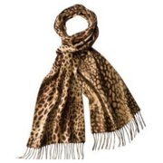 Womens Brown & Tan Leopard Print Fring Winter Neck Scarf