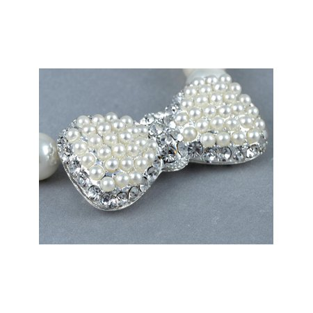 Crystal Rhinestone Bow Tie Ribbon Pendant Bridal Faux Pearl Bead Chain - Faux Pearl Necklaces