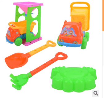 6 PCS Emulational Seaside Beach Toy Trolley Shovel Set For Playing Sand And Water for Children by