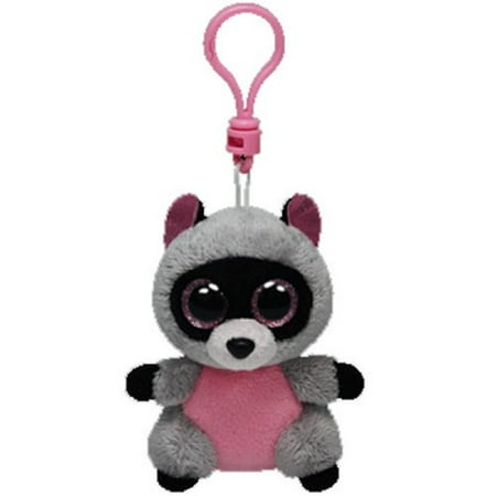 Ty Inc Beanie Boo Plush Stuffed Animal Rocco Grey Raccoon Bag Key Clip