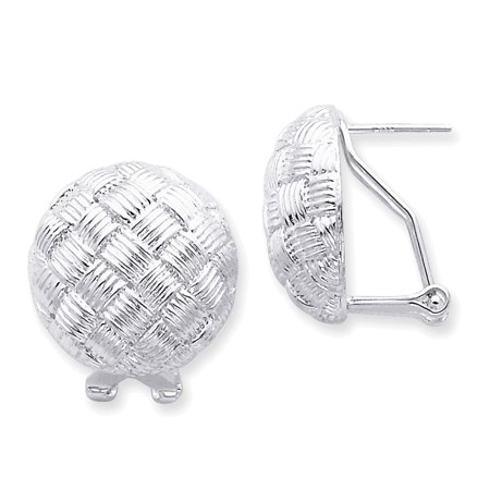 Silver Ball Drop - 925 Sterling Silver Basket Weave Ball Drop Earrings