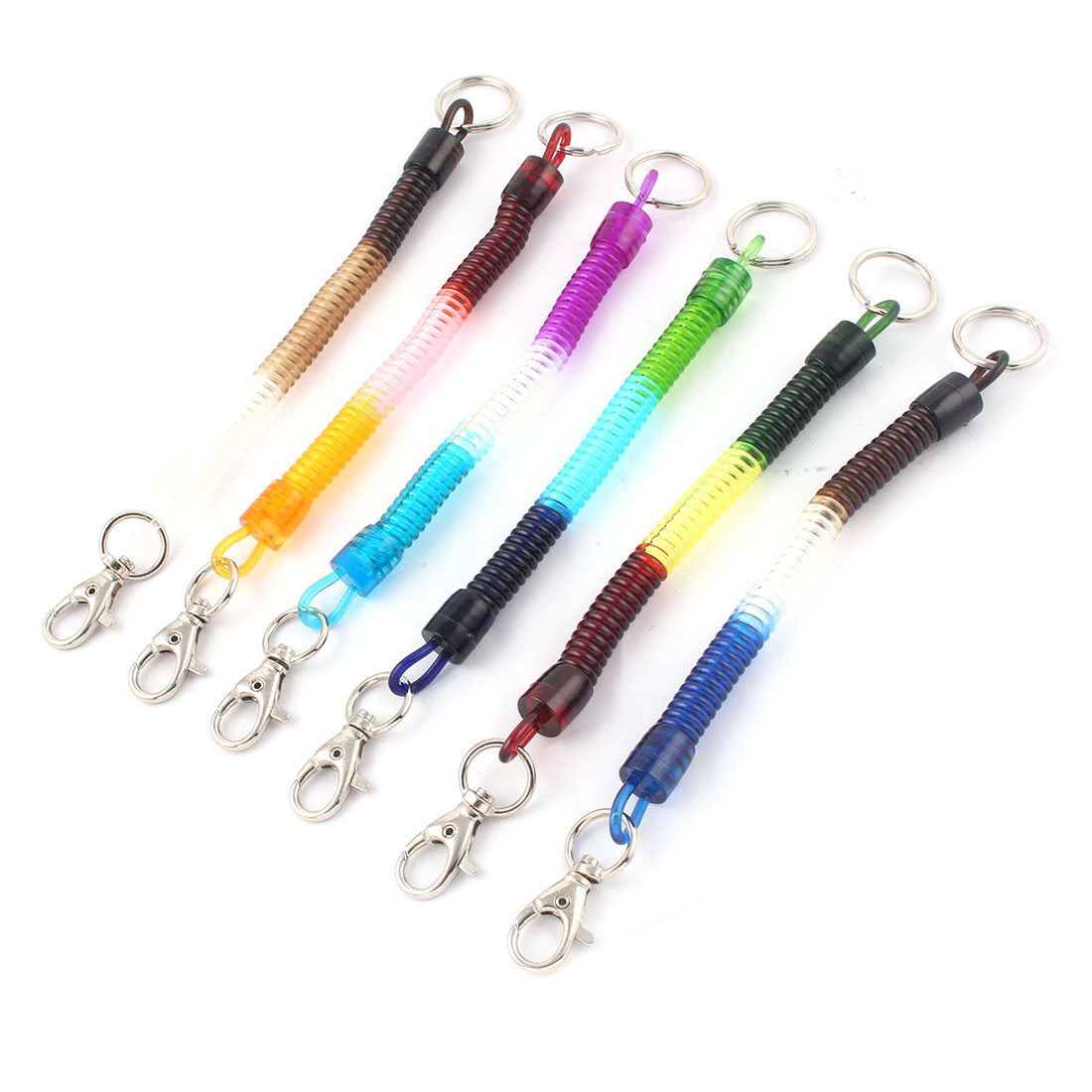 Bags Retractable Spiral Stretch Lanyard Wrist Coil Keyrings Key Chain 6pcs