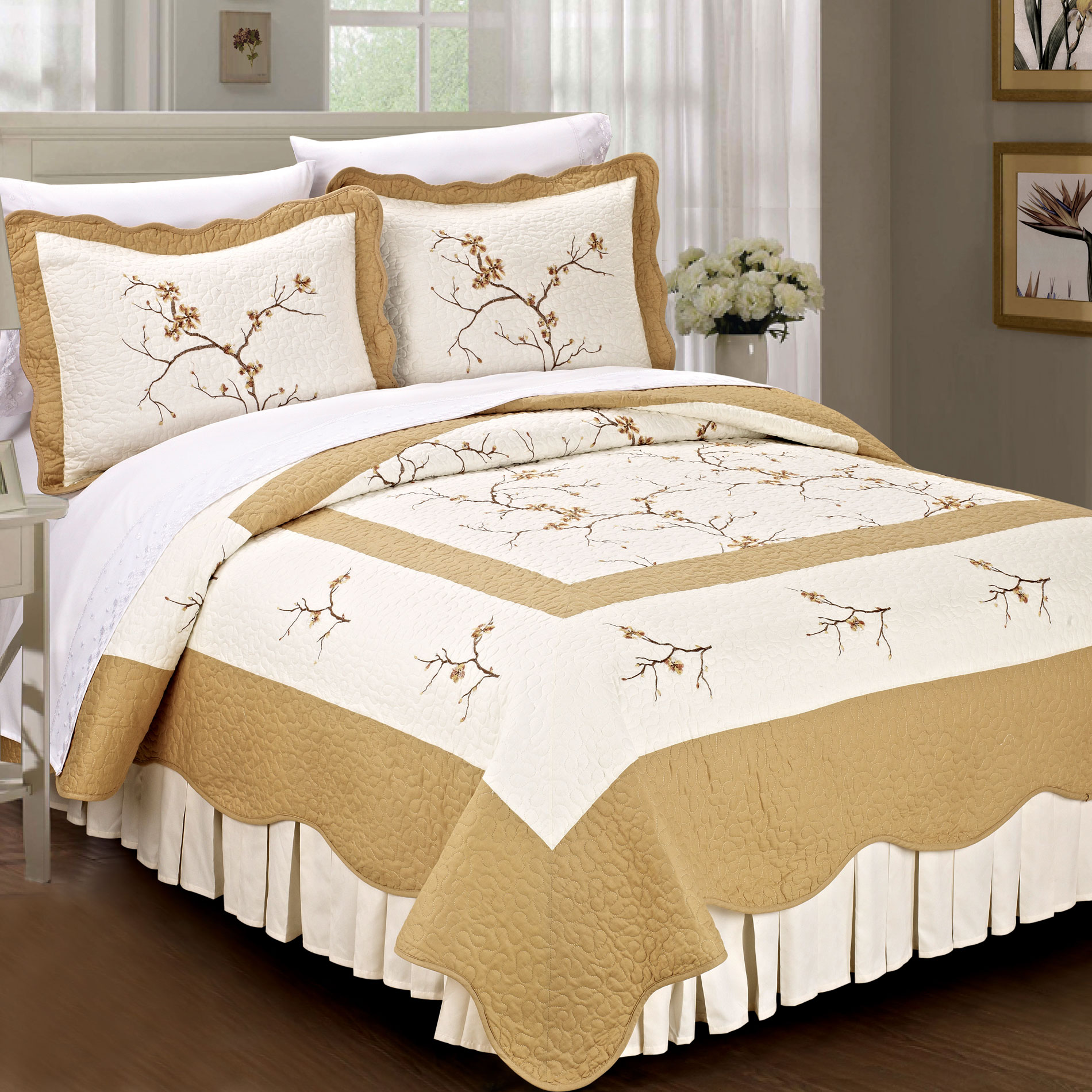 Cherry Blossom 100% Cotton Quilted 3 Piece Bed Spread Set Gold Queen