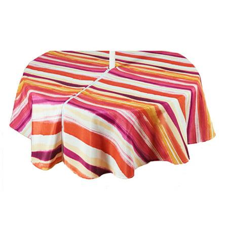 Watercolor Tango Stripe Zippered Umbrella Fabric Tablecloth (60 x 84 Rectangle Umbrella)