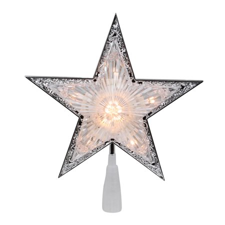 Silver and Clear Crystal 5 Point Star Christmas Tree Topper - 9 inch ()