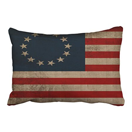 WinHome Old Traditional Vogue Vintage Look Early American Flag Polyester 20 x 30 Inch Rectangle Throw Pillow Covers With Hidden Zipper Home Sofa Cushion Decorative Pillowcases