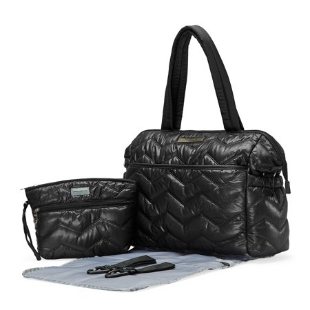 SoHo diaper bag Washington Chevron Stripe 5 pieces set nappy tote bag for baby mom dad stylish unisex multifunction large capacity includes changing pad stroller straps Black (Black)
