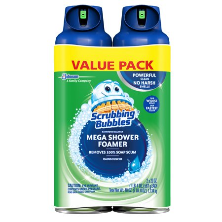 Scrubbing Bubbles Mega Shower Foamer Aerosol, Rainshower, 20 oz, 2