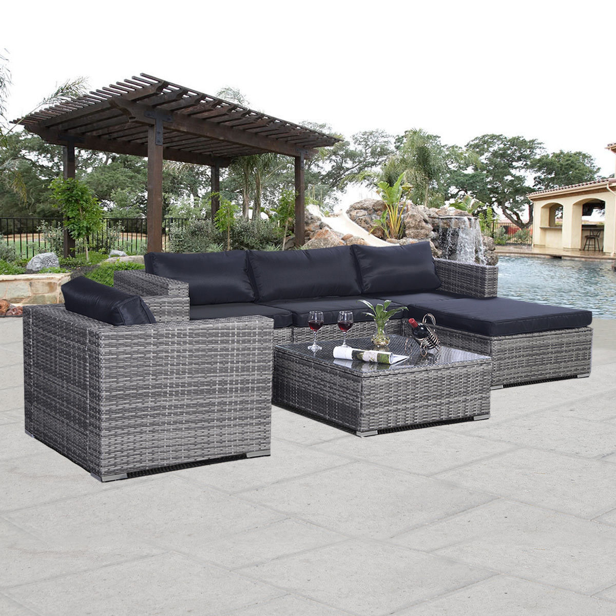 Costway 6pc Patio Sofa Furniture Set Pe Rattan Couch Outdoor Cushioned Gray