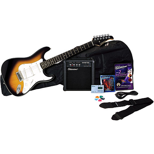 Silvertone Revolver Electric Guitar Package with Instructional DVD, Vintage Sunburst