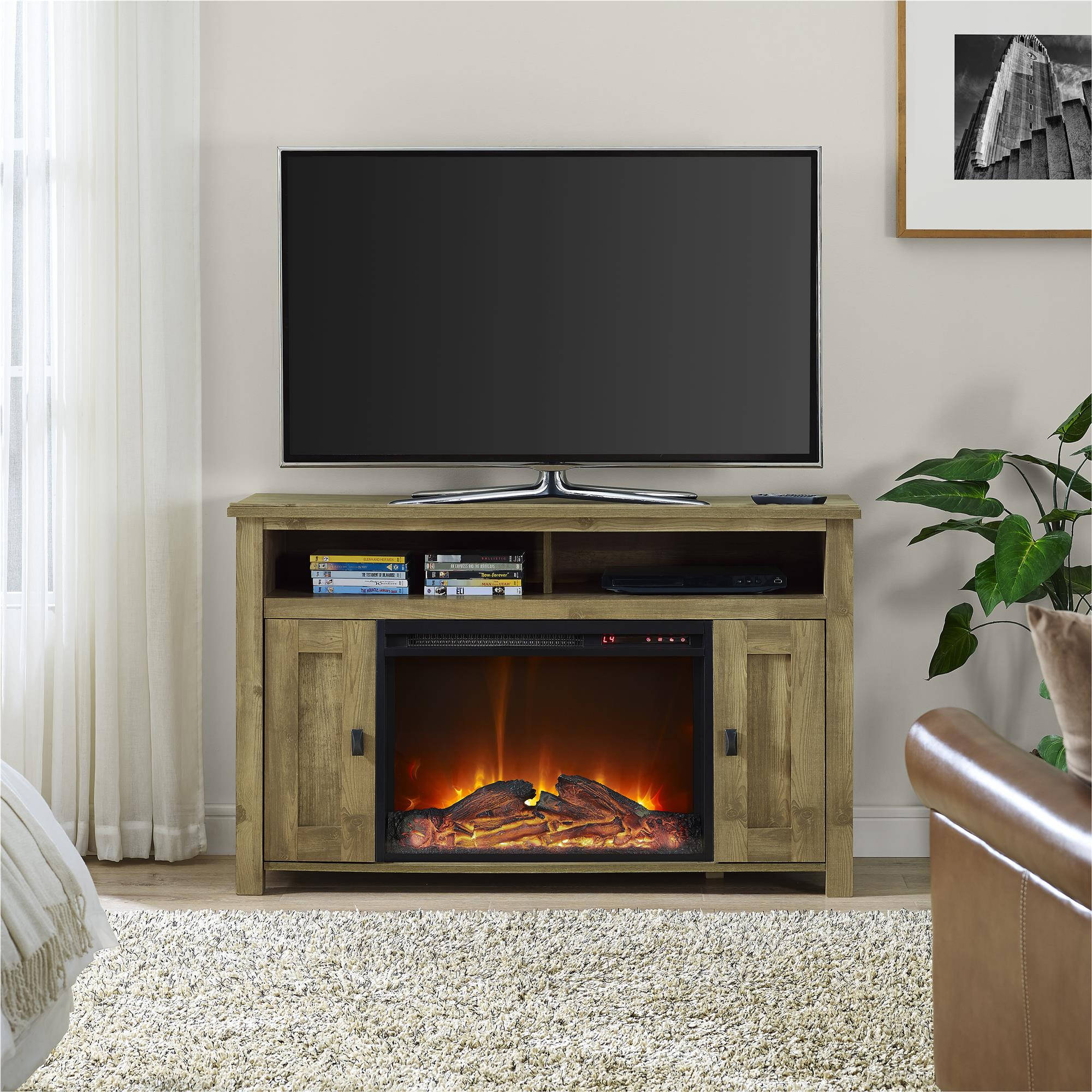 50 inch tv stand with fireplace media console electric entertainment center sale ebay. Black Bedroom Furniture Sets. Home Design Ideas