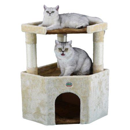 Club Coat - Go Pet Club 32 in. Corner Cat Tree Condo House Furniture