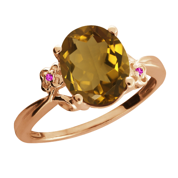 2.32 Ct Oval Whiskey Quartz Sapphire Rose Gold Plated Sterling Silver Ring