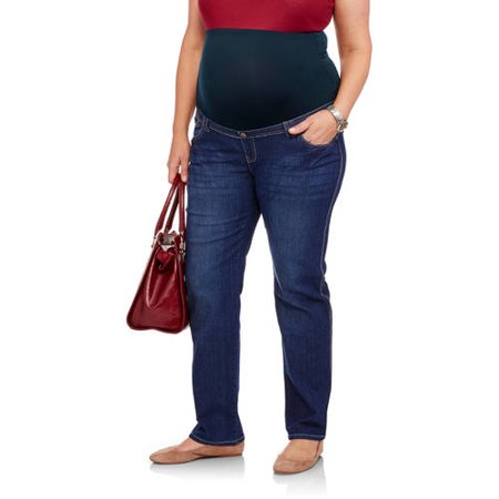 Oh! Mamma Maternity Plus-Size Full Panel Bootcut Jeans with Double Loop Belt