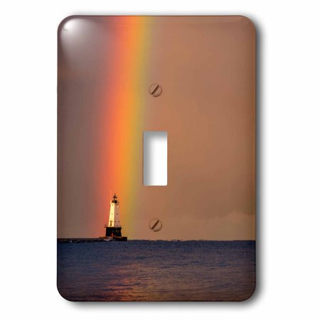 3dRose Rainbow over Ludington lighthouse, Lake Michigan, Ludington, Michigan - Single Toggle Switch