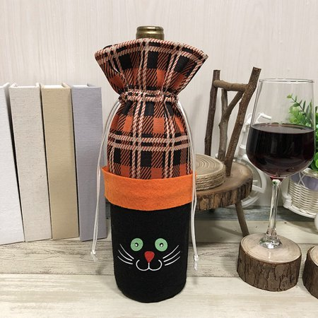 Halloween Non-Woven Wine Bottle Bag Pumpkin/Black Cat Candy Bag with Drawstring Closure Halloween Party Costumes Supplies Decorations--Black Cat