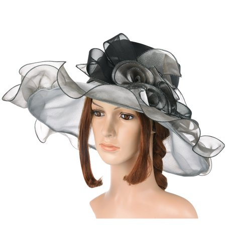 Vintage and Fashionable Organza Floral Ruffles Wide Large Brim Tea Party Wedding Sun Hat Beach Sunbonnet