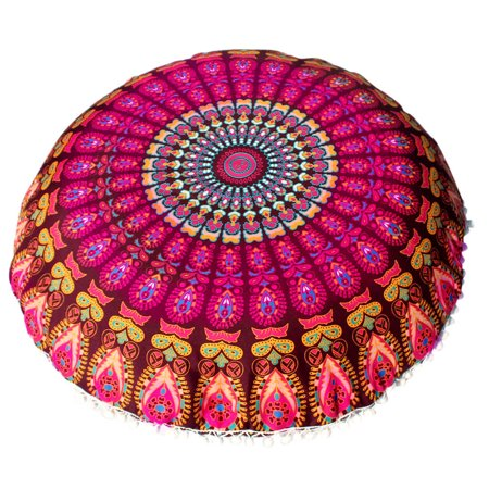 - Outtop Large Mandala Floor Pillows Round Bohemian Meditation Cushion Cover Ottoman Pouf