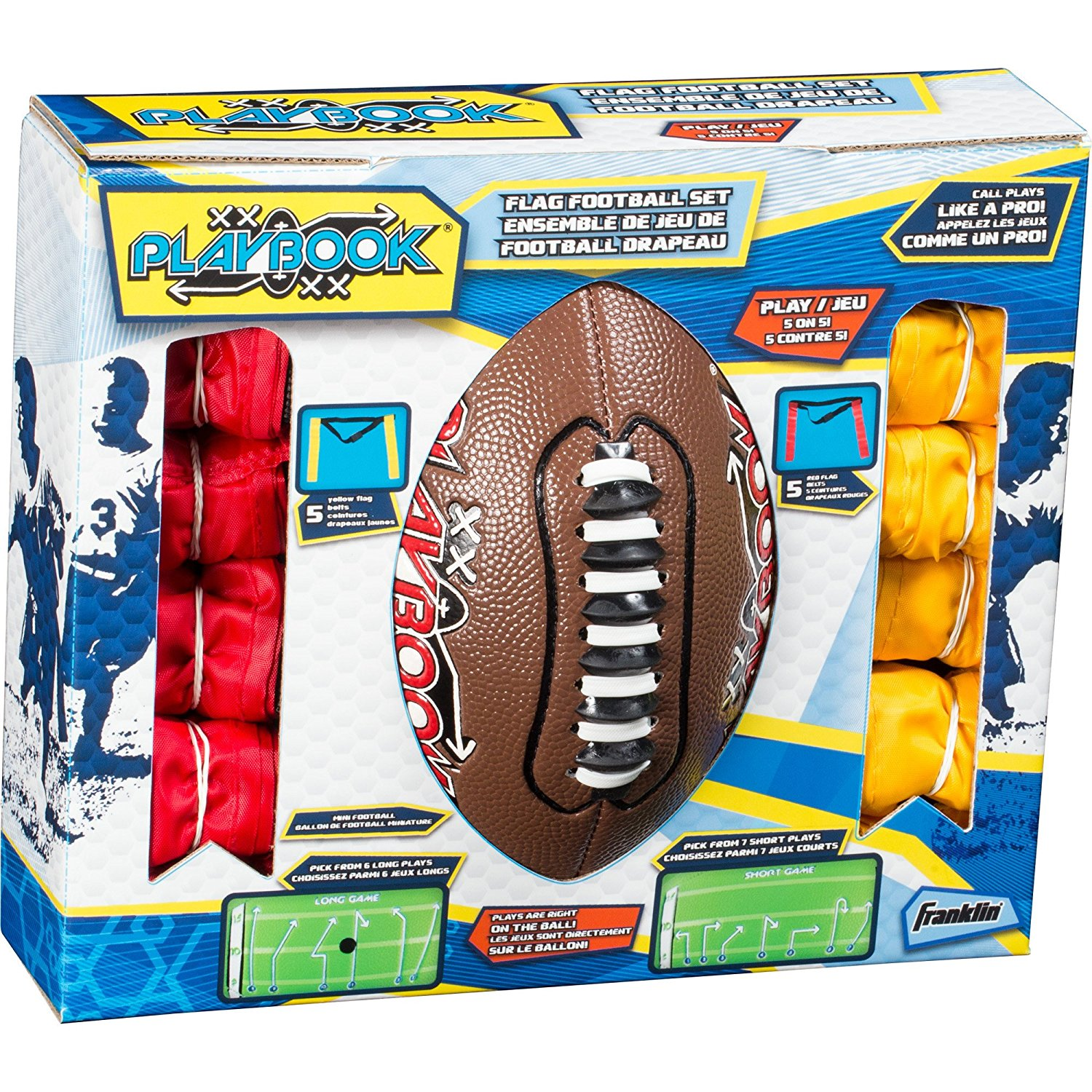 Playbook Youth Flag Football Set Includes Mini Playbook Football and Two Flag Sets of 5, Designed to field 2... by