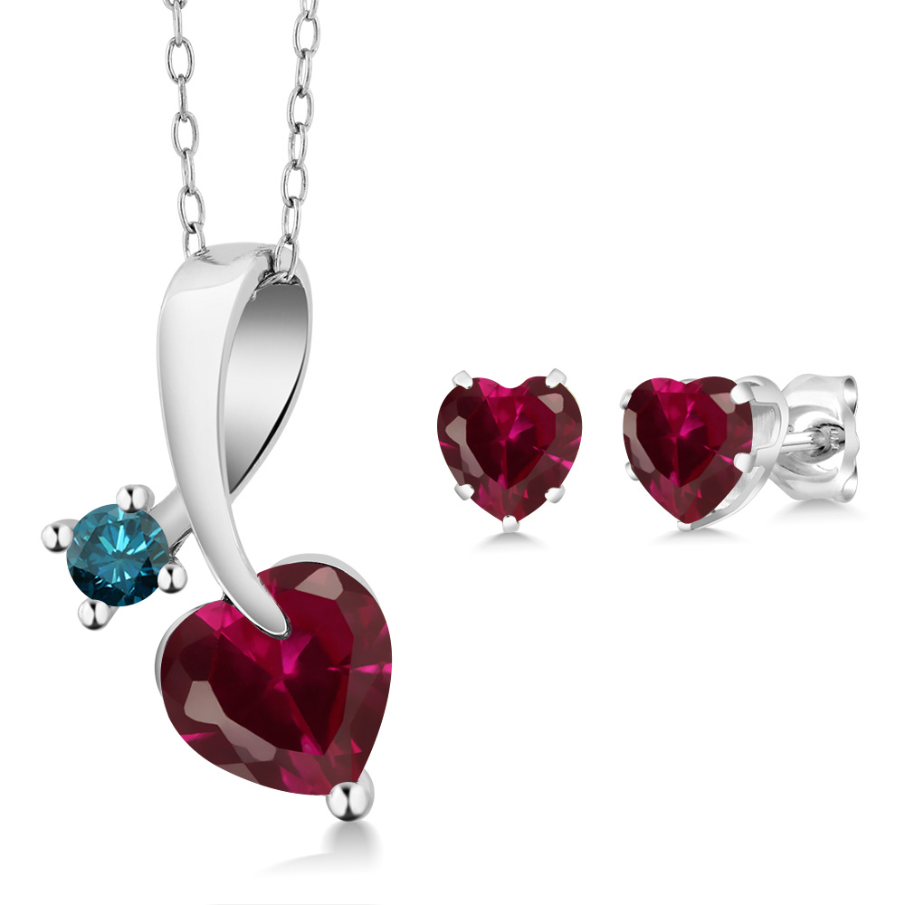 2.70 Ct Heart Shape Red Created Ruby 925 Sterling Silver Pendant Earrings Set by