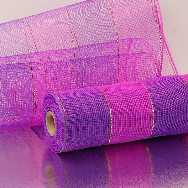 "10""X10 Yards Hot Pink/Purple 2-Clrd Wide Stripe Deco Mesh by Paper Mart"