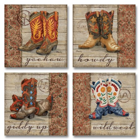 Fun, Wild West Cowboy Boots; Country Rustic Decor; Four 12X12 Print Posters (Wild West Wanted Poster)