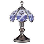 14.25-Inch Antique Bronze Touch Lamp with Dolphin Theme