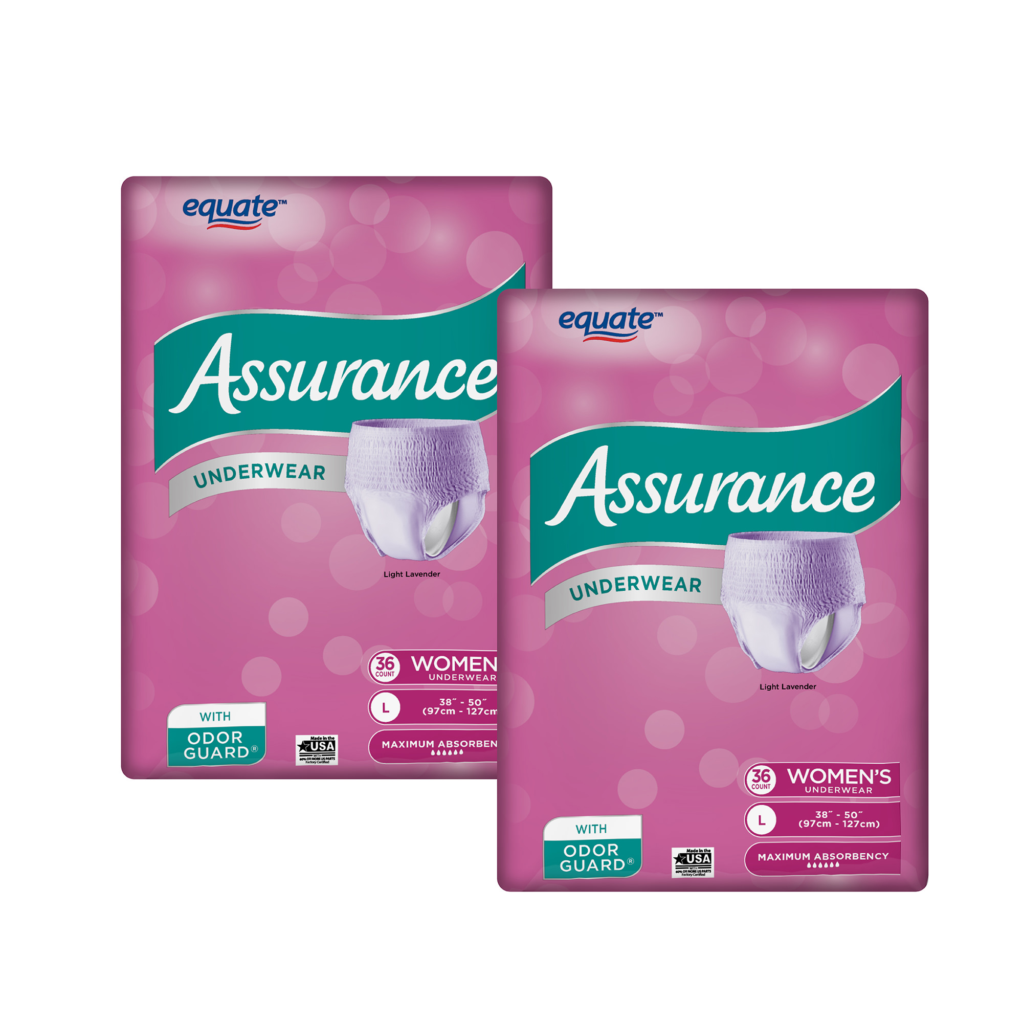 (2 Pack) Women's Maximum Assurance Fresh Lavender Color Underwear, L, 36 Ct