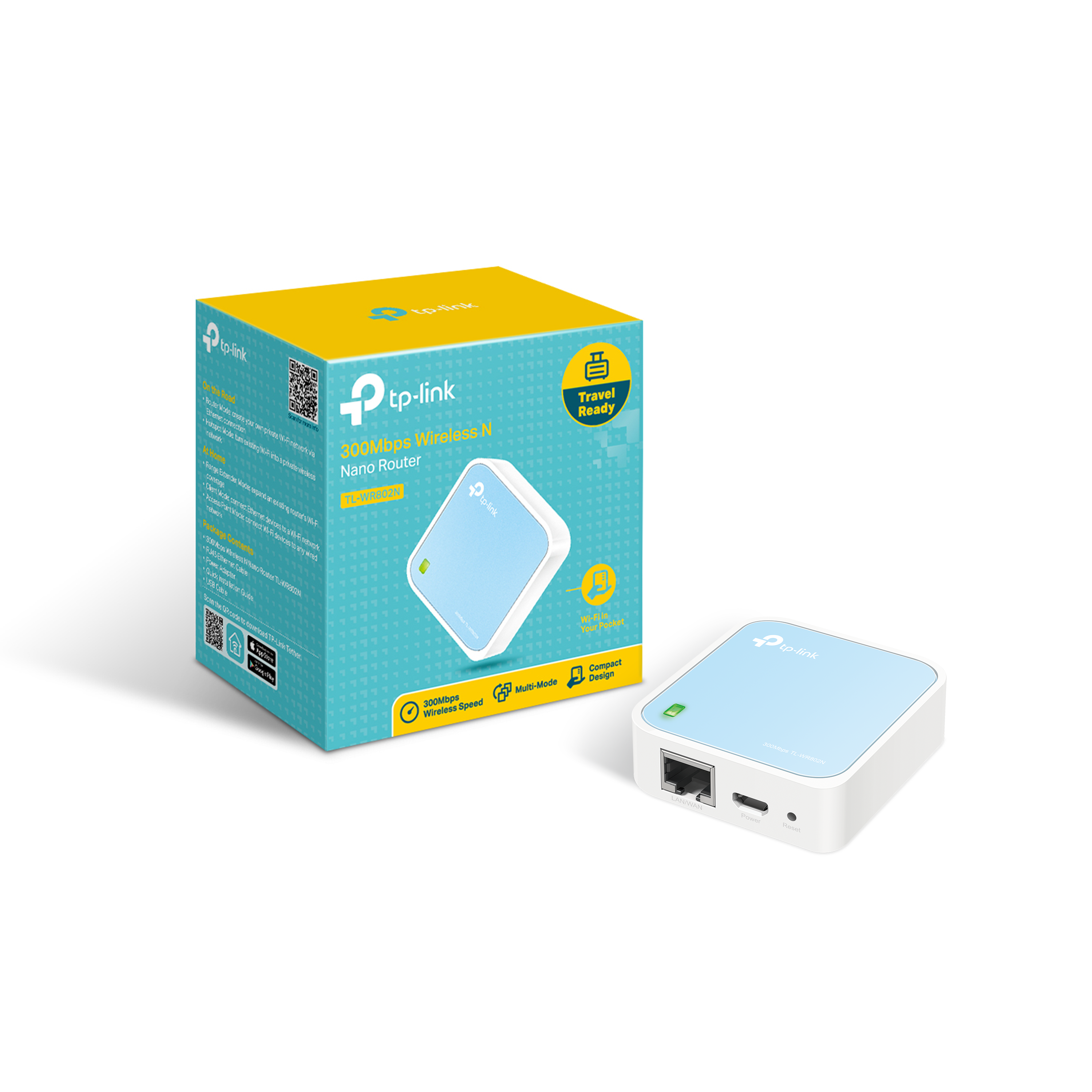 TP-Link N300 Wireless WiFi Nano Travel Router with Range Extender/Access Point/Client/Bridge Modes (TL-WR802N)