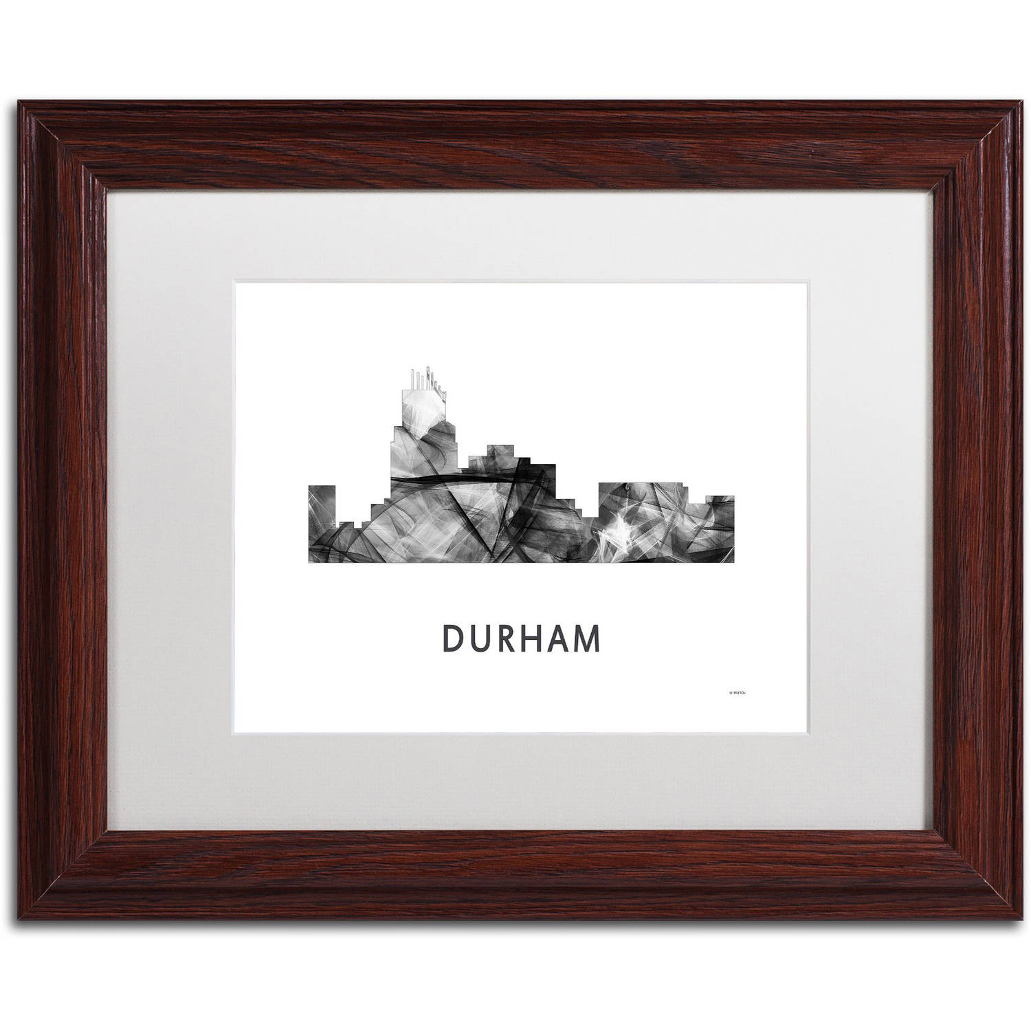 Trademark Fine Art 'Durham NC Skyline WB-BW' Canvas Art by Marlene Watson, White Matte, Wood Frame